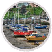 Tenby Harbour In Summer 3 Round Beach Towel