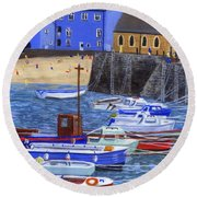 Painting Tenby Harbour With Boats Round Beach Towel