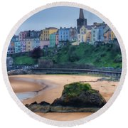 Tenby Over North Beach Painted Round Beach Towel