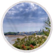 Tenby Pembrokeshire Painted Round Beach Towel