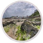 Tenby Rocks 2 Round Beach Towel