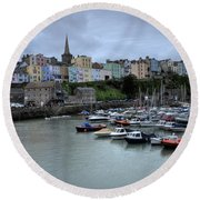Tenby Town Across The Harbour Round Beach Towel