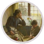 Tender Grace Of A Day That Is Dead Round Beach Towel by Walter Langley