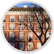 Tenement House Facade In Madrid Round Beach Towel