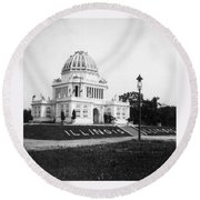Tennessee Centennial In Nashville - Illinois Building - C 1897 Round Beach Towel by International  Images
