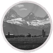Tetonia Grain Elevators Round Beach Towel