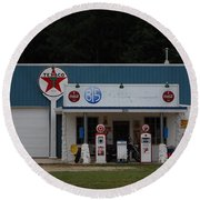 Texaco Gas Station Round Beach Towel