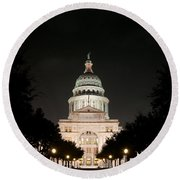 Texas Capitol Building At Night - Horz Round Beach Towel