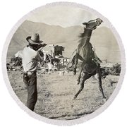 Texas: Cowboy, C1910 Round Beach Towel
