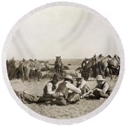 Texas: Cowboys, C1906 Round Beach Towel