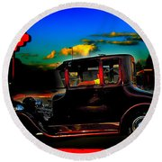 Texas Hot Rod Round Beach Towel