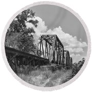 Texas Railroad Bridge Round Beach Towel