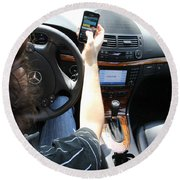 Texting And Driving Round Beach Towel