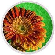 Textured Orange Flower Round Beach Towel