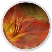 Textured Red Daylily Round Beach Towel
