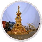 Thai Clock Tower  Round Beach Towel