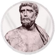 Thales, Ancient Greek Philosopher Round Beach Towel by Photo Researchers