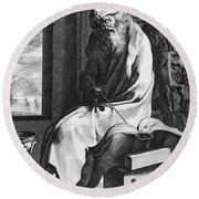 Thales Of Miletus, Greek Polymath Round Beach Towel by Science Source