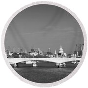 Thames Panorama Weather Front Clearing Bw Round Beach Towel