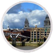 Thames River Panorama Round Beach Towel