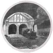 Thames Tunnel: Train, 1869 Round Beach Towel