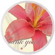 Thank You Card - Pink Lily Round Beach Towel