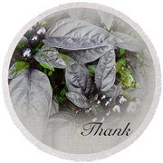 Thank You Card - Silver Leaves And Berries Round Beach Towel