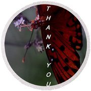 Thank You Card - Butterfly Round Beach Towel