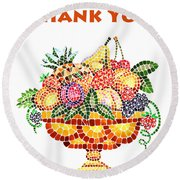 Thank You Card Fruit Vase Round Beach Towel