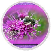 Thank You Greeting Card - Bumblebee On Ironweed Round Beach Towel
