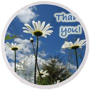 Thank You Greeting Card - Oxeye Daisy Wildflowers Round Beach Towel