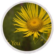 Thank You Yellow Aster Round Beach Towel