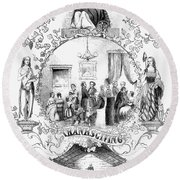Thanksgiving, 1852 Round Beach Towel