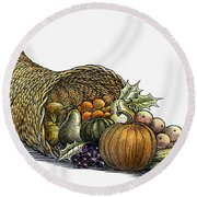 Thanksgiving: Cornucopia Round Beach Towel