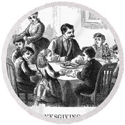 Thanksgiving Dinner, 1873 Round Beach Towel