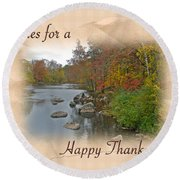 Thanksgiving Greeting Card - Autumn Creek Round Beach Towel