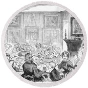 Thanskgiving Dinner, 1857 Round Beach Towel