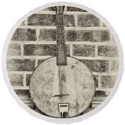 That Old Banjo Mandolin Round Beach Towel
