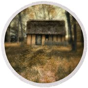 Thatched Roof Cottage In The Woods Round Beach Towel