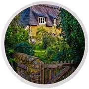 Thatched Roof Country Home Round Beach Towel