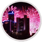 The 54th Annual Target Fireworks In Detroit Michigan Round Beach Towel