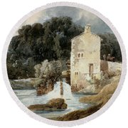 The Abbey Mill - Knaresborough Round Beach Towel