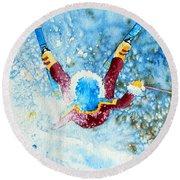 The Aerial Skier - 14 Round Beach Towel by Hanne Lore Koehler