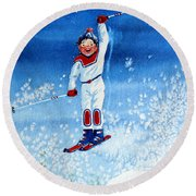 The Aerial Skier 15 Round Beach Towel