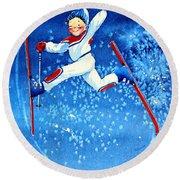 The Aerial Skier 16 Round Beach Towel