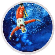 The Aerial Skier 20 Round Beach Towel