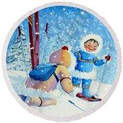 The Aerial Skier - 5 Round Beach Towel by Hanne Lore Koehler