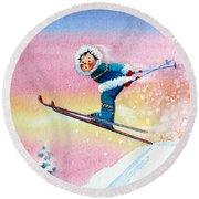 The Aerial Skier - 7 Round Beach Towel