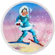 The Aerial Skier - 8 Round Beach Towel