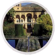The Alhambra Palace Of The Partal Round Beach Towel